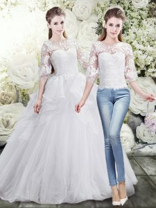 Lace and Ruffles Wedding Gowns White Lace Up Half Sleeves Brush Train