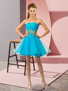 Fantastic Mini Length Lace Up Prom Gown Baby Blue for Prom and Party and Sweet 16 with Beading and Ruching
