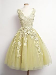 Tulle V-neck Sleeveless Lace Up Appliques Quinceanera Dama Dress in Yellow