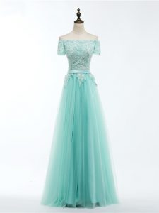 Tulle Short Sleeves Floor Length Evening Gowns and Lace and Appliques