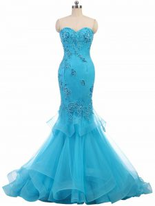 Sexy Lace Up Pageant Dress for Womens Aqua Blue for Prom and Party with Appliques Brush Train