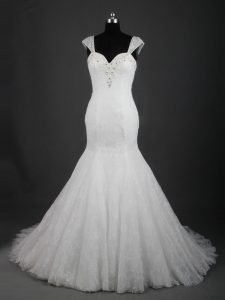 Fancy White Lace Up Straps Lace Wedding Dress Lace Sleeveless