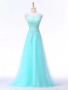 Scoop Sleeveless Going Out Dresses Brush Train Lace and Appliques Aqua Blue Chiffon