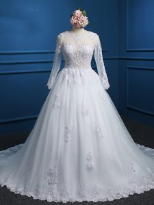 White Wedding Dresses Scoop Long Sleeves Court Train Zipper