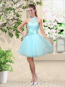 Aqua Blue A-line Tulle Halter Top Sleeveless Lace and Belt Knee Length Lace Up Dama Dress