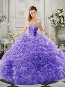 Superior Beading and Ruffles 15th Birthday Dress Lavender Lace Up Sleeveless Court Train
