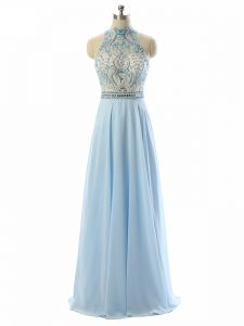 Fantastic Light Blue Backless Evening Dress Beading Sleeveless Floor Length
