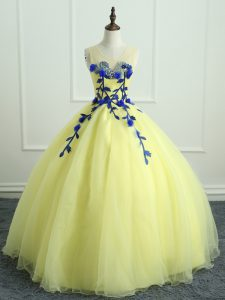 Colorful Light Yellow Organza Lace Up Scoop Sleeveless Floor Length 15th Birthday Dress Hand Made Flower