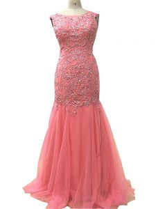 Suitable Watermelon Red Sleeveless Beading and Lace and Appliques Floor Length Evening Outfits