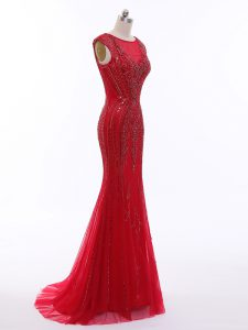 Trendy Sleeveless Tulle Brush Train Zipper Evening Wear in Red with Beading