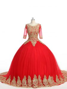 Half Sleeves Brush Train Lace and Appliques Zipper Quinceanera Dress