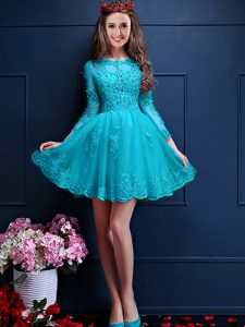 Aqua Blue Scalloped Neckline Beading and Lace and Appliques Quinceanera Dama Dress 3 4 Length Sleeve Lace Up
