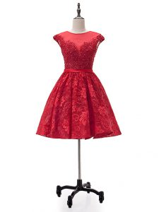 Beading and Appliques Homecoming Dress Red Lace Up Sleeveless Mini Length