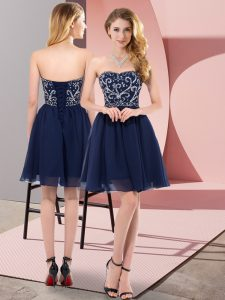 Empire Navy Blue Sweetheart Chiffon Sleeveless Mini Length Lace Up