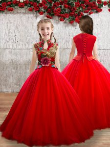 High Class Red Ball Gowns High-neck Sleeveless Tulle Floor Length Lace Up Appliques Child Pageant Dress
