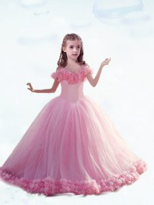 Stylish Sleeveless Hand Made Flower Lace Up Little Girl Pageant Dress with Baby Pink Court Train