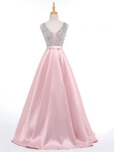 High Class Baby Pink A-line Beading Homecoming Dress Backless Elastic Woven Satin Sleeveless