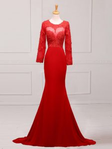 Red Scoop Neckline Lace and Appliques Mother of Groom Dress Long Sleeves Zipper