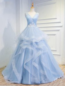 Modern Floor Length Light Blue Pageant Dress Womens Tulle Brush Train Sleeveless Beading and Ruffles