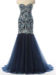 Most Popular Navy Blue Sweetheart Neckline Beading and Embroidery Prom Dresses Sleeveless Zipper