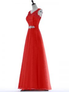 Tulle V-neck Sleeveless Zipper Beading and Lace Prom Dress in Red