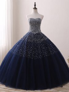 Free and Easy Ball Gowns Quinceanera Dress Navy Blue Sweetheart Tulle Sleeveless Floor Length Lace Up