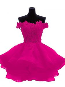 Beautiful Fuchsia A-line Organza Sweetheart Sleeveless Beading and Lace and Appliques and Ruffles Mini Length Zipper Cocktail Dresses