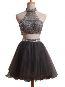 Chic Black Halter Top Neckline Beading Prom Dresses Sleeveless Criss Cross