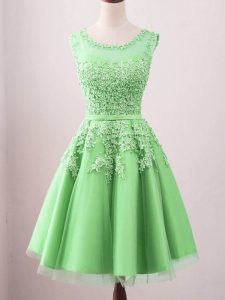 Flirting Green Lace Up Court Dresses for Sweet 16 Lace Sleeveless Knee Length