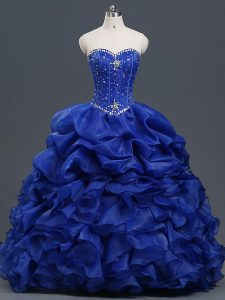 Adorable Royal Blue Sweetheart Neckline Beading and Ruffles and Pick Ups 15 Quinceanera Dress Sleeveless Lace Up