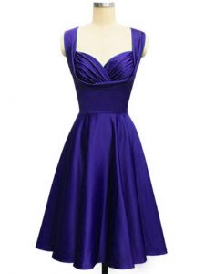 Fancy Knee Length Lace Up Quinceanera Court Dresses Purple for Prom and Party and Wedding Party with Ruching