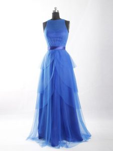 Best Floor Length Empire Sleeveless Blue Celebrity Evening Dresses Zipper