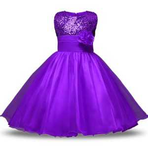 Stunning Bowknot and Belt and Hand Made Flower Toddler Flower Girl Dress Eggplant Purple Zipper Sleeveless Knee Length