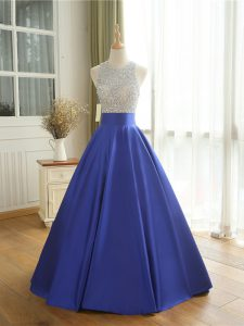 High End Floor Length Backless Prom Party Dress Blue for Prom and Military Ball with Beading