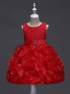Great Sleeveless Lace Up Knee Length Ruffles and Belt Little Girls Pageant Gowns