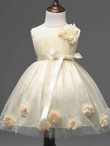 Sleeveless Knee Length Hand Made Flower Zipper Pageant Gowns For Girls with Champagne