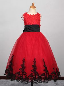 Fashion Floor Length Lace Up Party Dress Wholesale Red for Wedding Party with Appliques