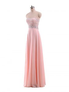 Decent Floor Length Empire Sleeveless Pink Junior Homecoming Dress Zipper