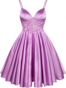 Lilac Wedding Party Dress Prom and Party and Wedding Party with Lace Spaghetti Straps Sleeveless Lace Up
