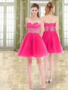 Hot Pink Sweetheart Neckline Beading and Ruffles Homecoming Gowns Sleeveless Lace Up