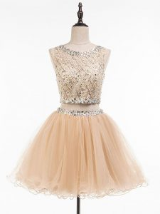 Tulle Scoop Sleeveless Side Zipper Beading Prom Evening Gown in Champagne