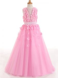 New Arrival Tulle Sleeveless Floor Length Kids Pageant Dress and Appliques and Bowknot