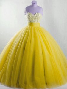 Cheap Yellow Ball Gowns Beading 15th Birthday Dress Lace Up Tulle Sleeveless Floor Length