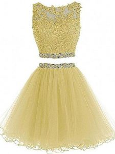 Sweetheart Sleeveless Cocktail Dress Mini Length Beading and Lace and Appliques Yellow Tulle