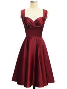 Decent Sleeveless Taffeta Knee Length Lace Up Court Dresses for Sweet 16 in Wine Red with Ruching