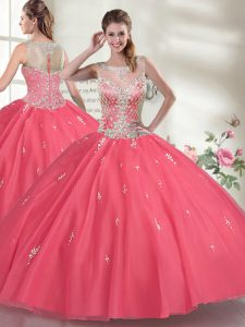 Hot Pink Organza Zipper Scoop Sleeveless Floor Length Quinceanera Gowns Beading