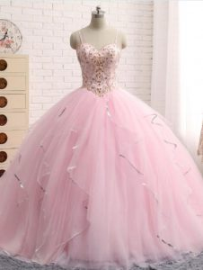 Ball Gowns Sleeveless Baby Pink Sweet 16 Quinceanera Dress Brush Train Lace Up