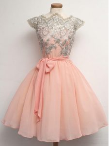 Flare Chiffon Cap Sleeves Knee Length Damas Dress and Lace and Belt