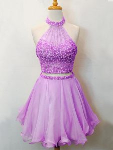 Customized Lilac Sleeveless Beading Knee Length Quinceanera Dama Dress