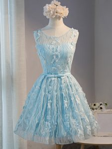 Light Blue Lace Up Scoop Lace and Appliques Cocktail Dresses Tulle Sleeveless